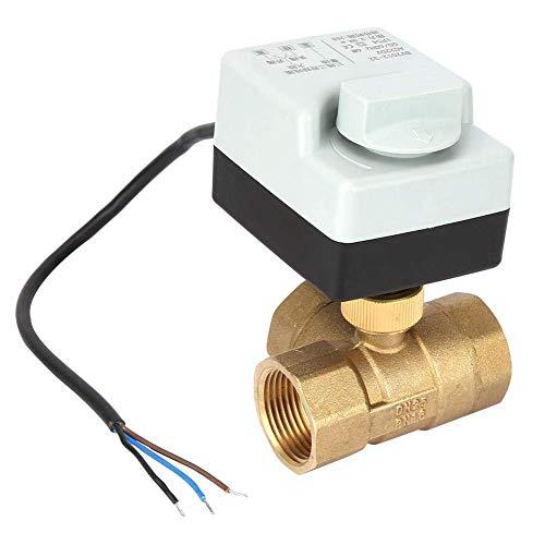 SIMNO JIAHONG Válvulas de Válvula de Bola motorizada DN25, válvula de Bola motorizada de latón de 3 vías de 3 vías AC220V G1Inch con Interruptor Manual funcionar