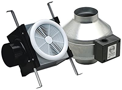 """Fantech PB110 Inline Exhaust Bath Fan Kit, 110 CFM, Remote mount fan, for 4"""" duct"""