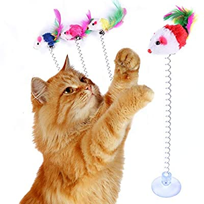 KABB 3 Pcs Cat Toy Spring Toy Elastic Spring Mouse Feather Plush Interactive Intelligence Toys with Sucking, Random Color