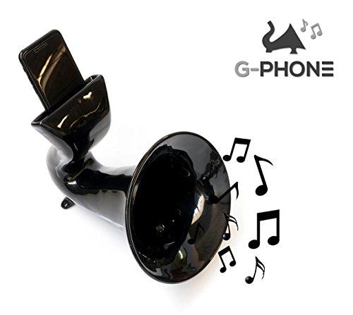 Amplificatore per cellulare in Ceramica G-PHONE – Made in Italy – Design che arreda – Funziona con tutti i tipi di iphone e smartphone – Idea Regalo Originale – Base Cassa Speaker Passivo(Nero)