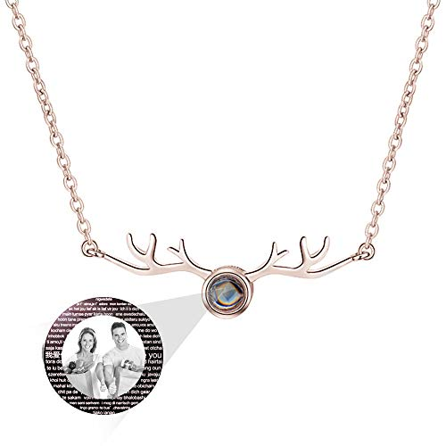 hjsadgasd Personalisierte Foto Sterling Silber Liebe projektion anhänger Halskette ich Liebe Dich 100 sprachen Halskette kreative Geschenke für Frauen mädchen