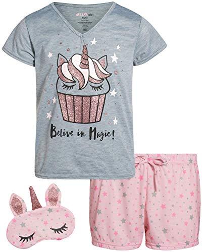 dELiAs Girls' 3-Piece Fun Summer Sleepwear Short Set Pajamas with Matching Eye Masks, Grey Cupcake Unicorn, Size 14/16'