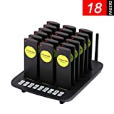 Restaurant Pager System, BYHUBYENG Guest Paging System with 18Pcs Slim Coaster Pagers and Beepers Long Range Pager System for Restaurant Snack Bar Church Food Truck Cafe Shop