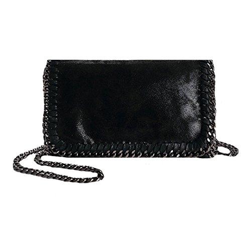 AiSi Leder Handtasche mit Kette Metallic Umhängetasche mit Kette lässigen Kette Handtasche Modisch Schultertasche (Schwarz)