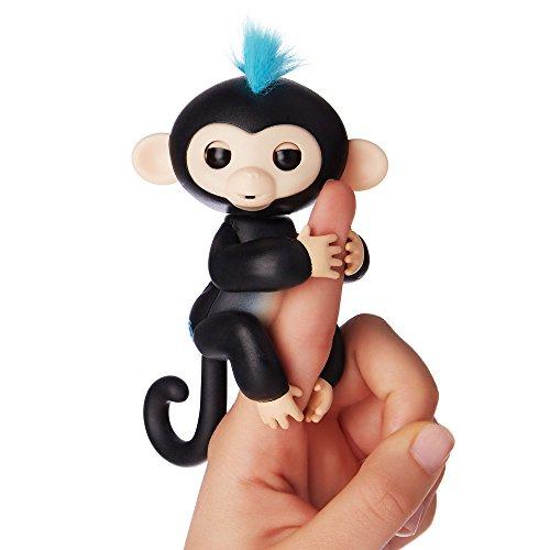 Fingerlings Äffchen schwarz mit blauem Haar Finn 3701 interaktives Spielzeug, reagiert auf Geräusche, Bewegungen und Berührungen