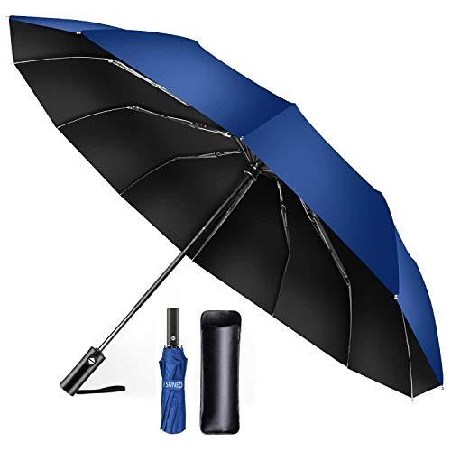 【TSUNEO】 折りたたみ傘 12本骨耐風傘 自動開閉 大きい 台風対応 梅雨対策 おりたたみ傘 メンズ 晴雨兼用 超撥水 高強度グラスファイバー 収納ポーチ付き (ブルー)