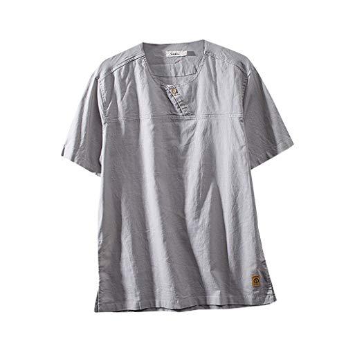 Daysing Herren Chinesischer Baumwolle Leinen Kurzarm 2019 Männer Neu Retro Shirt Tops Bluse Junge Dad Vatertag Gerade Knopf Einfarbig V-Ausschnitt m-4xl(Grau,X-Large