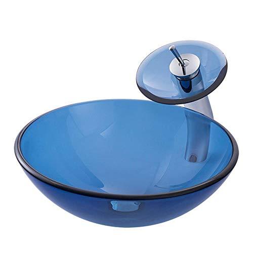 Feixunfan Vaartuig wastafel modern glas container kom wastafel pop-up afvoer blauwe waterval chroom kraan combinatie voor hotel restaurant
