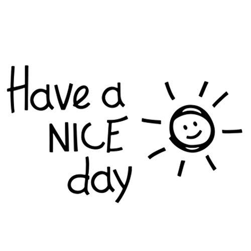 Pegatinas de pared frases-un buen dia en ingles Patrón de Smiley sol negro-Dormitorio ventana cocina con refrigerador y decoración de jardín de infantes 27 * 16cm