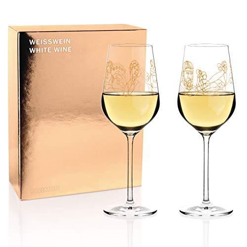 Ritzenhoff Wein-Ensemble Weißweinglas-Set von Burkhard Neie (Dionysos & Ariadne | Zeus & Leto), aus Kristallglas, 364 ml, mit echtem Gold