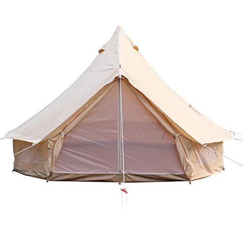 BuoQua Tenda da Campeggio 10-12 Persone, Tenda in Tela per Stufa a Muro con Camino,Tende Yurta per Campeggio 4 Stagioni 6M Impermeabile all'aperto in Famiglia