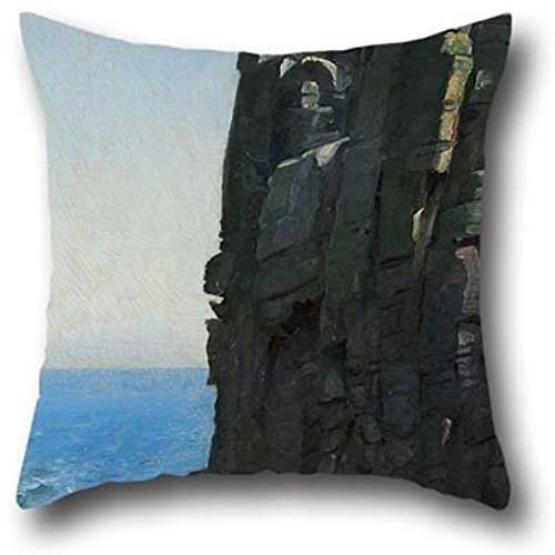 Oil Painting Michael Ancher - The Sanctuary Cliffs At Rø Throw Pillow Covers ,best For Birthday,indoor,saloon,bench,lover,gril Friend 20 X 20 Inch / 50 By 50 Cm(double Sides)