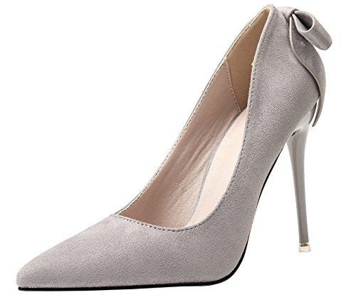 BIGTREE Wildleder Damen High Heels Schuhe Bowknot Party Pumps Grau Stiletto Kleid Pumps 36 EU