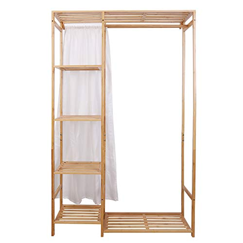 "Medla Open Wardrobe Coat Stands:Bamboo Garment Rack with Shelves Clothing Hanging Rail with Back Cover Clothing Standing Rack 35.4"" x 11.8"" x 58"""