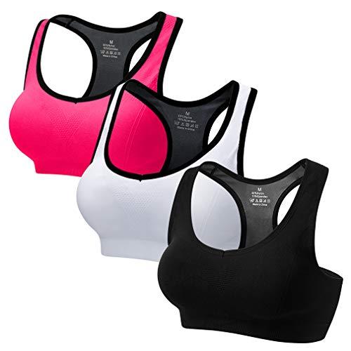 CARETOO Sport BHs für Frauen Racerback Medium High Impact Sport Fitness Yoga 3 Packs (Schwarz+Rose+Weiß, S Fit 65B 65C 65D 70BC70D 75BC)