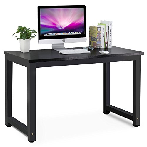 Tribesigns Modern Simple Style Computer Desk PC Laptop Study Table Office Desk Workstation for Home Office, Black + Black Leg