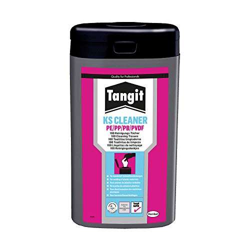 Tangit KS-Cleaner Reinigungstücher, Rohrreiniger für Kunststoff-Schweißverbindungen aus PE/PP/PB/PVDF, Kunststoffreiniger gewährleistet sichere Schweißung, 100 Tücher
