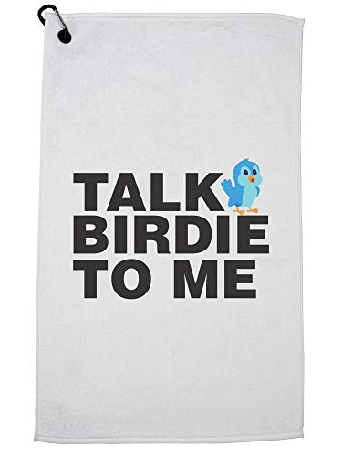 Hollywood Thread Talk Birdie to Me - Funny Golf Pun Golf Towel with Carabiner Clip