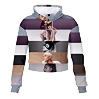 LJXJ Ariana Grande 3Dデジタルカラー印刷女性のハイウエストスウェットシャツ裸のへそフード付きスウェットシャツスポーツパーカー,3,S