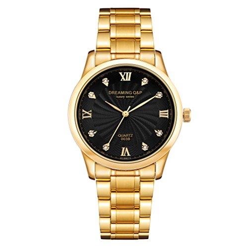 Orologio da polso per uomo, in acciaio, placcatura IP in oro, numeri romani, quadrante con strass, nero 003