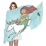 QMIN - Bufanda de seda, diseño de unicornio arcoíris y unicornio, diseño de sirena
