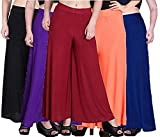Women's Loose Fit Palazzo (Pack of 5) (S-90_Assorted_Waist Size 28 inches To 38 inches)