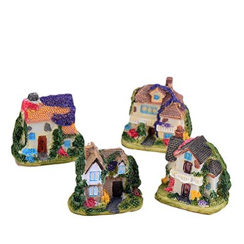 YeahiBaby 4 PCS Miniature Fée Cottage Jardin Maison de Pierre Micro Paysage Décoration Ornement (Aléatoire)