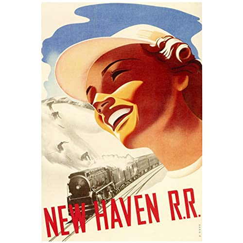 Chifang New Haven RR Classic Vintage Werbeplakat Leinwand Gemälde Vintage Wandposter Wohnkultur Geschenk-50x75 cm x1 Kein Rahmen