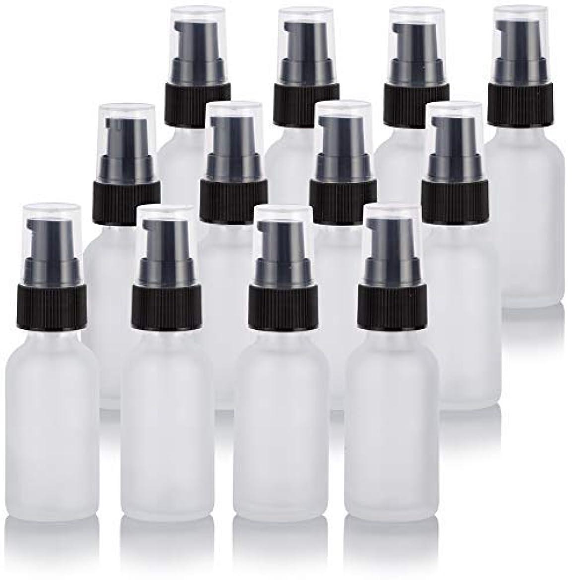 魔術収まる空港1 oz Frosted Clear Glass Boston Round Treatment Pump Bottle (12 Pack) + Funnel for Cosmetics, serums, Essential Oils, Aromatherapy, Food Grade, bpa Free [並行輸入品]