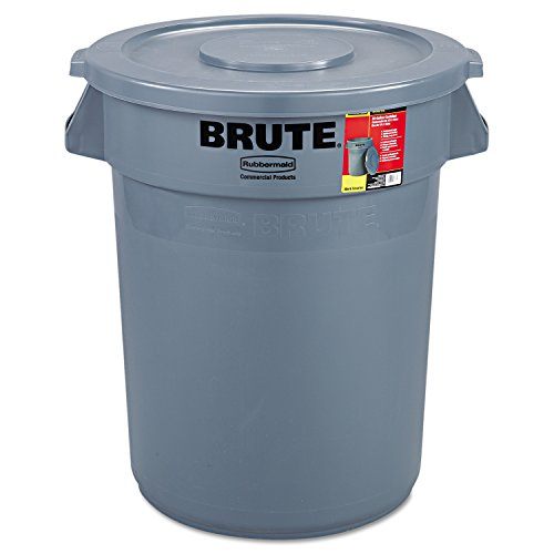 Rubbermaid Commercial 863292GRA Brute Container All-Inclusive, Round, Plastic, 32 gal, Gray