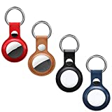 4 Packs Anti-Lost Leather Case for AirTag Finder 2021 - Protective Case Cover with Keychain Ring Compatible with Air Tags, Easy Carry and Flexible Tag Holder Keeps Signal Strong