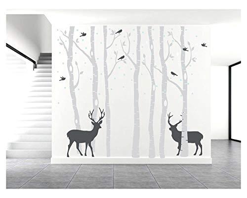 BDECOLL Familie Baum Wandtattoo,groß Birke Baum Wandsticker, Aufkleber für Kinderzimmer (Grau)