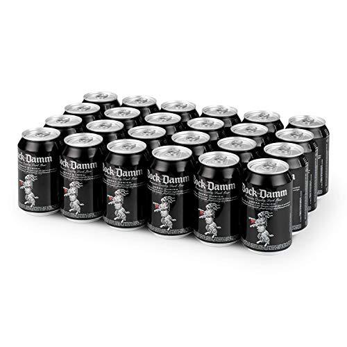 Damm - Cerveza Negra Bock-Damm, Pack de 24 Latas 33cl | Cerveza Negra Estilo Múnich, Elaborada con Maltas Tostadas, 100% Ingredientes Naturales, Original y de Alta Calidad Formato Lata