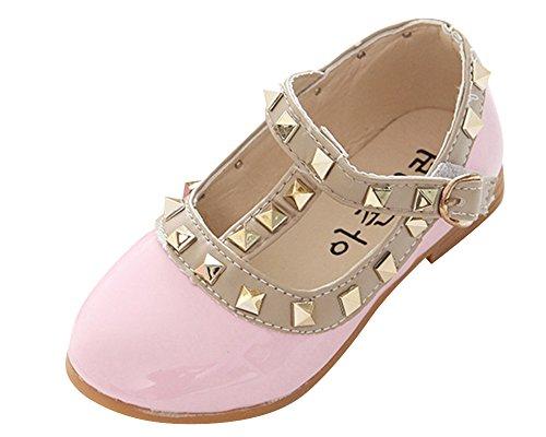 Mädchen Weiche Sohlen Mary Jane Halbschuhe Prinzessin Baby Ballerina Sandalen Anti-Rutsch Taufschuhe Pink EU 21/ Fußlänge:13CM