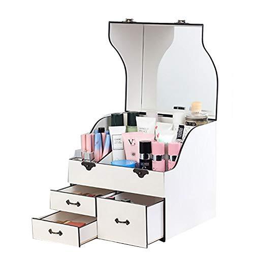 EIU grote cosmetische opbergdoos meerlagige partitie massief hout dressing tafel cosmetische tas gratis installatie stofdichte spiegelslot multifunctionele opbergdoos W05/04