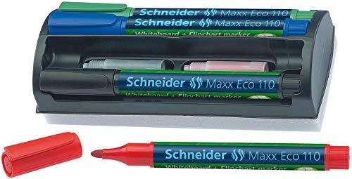 Schneider Maxx Eco 110 4in1 Whiteboard Marker Set (Stiftehalterung, Schwamm, 4 Marker, Nachfüllpatronen) schwarz, rot, blau, grün