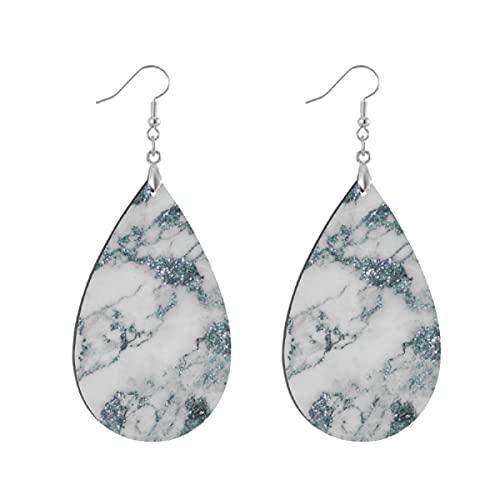 Pendientes de madera de moda gota colgantes ligeros lágrima pendientes forma gota pendiente para las mujeres joyería cristales brillo aguamarina blanco azul mármol