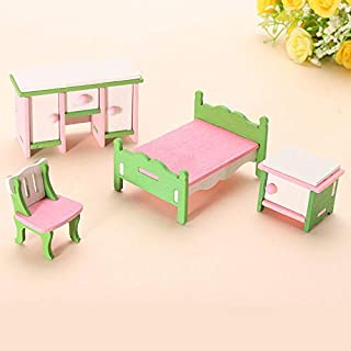 2018 Wooden Doll House Miniature Bedroom Furniture Families Role Play Toys Kit