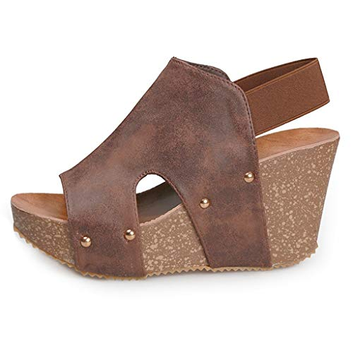 Wedges Shoes with Rhinestones for Women Walking Shoes for Women,Lady Girls Casual Breathable Hollow-Out Round Toe Slip-On Canvas Shoes Flat with Sneakers Brown