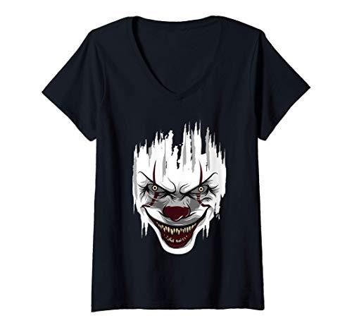 Mujer Payaso asesino de Halloween Mime Arlequín Derrador Payasos Camiseta Cuello V
