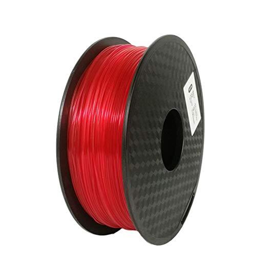 YANGDONG Flexibles TPU-Filament, Dimensionsgenauigkeit 1.75mm +/- 0,02 Mm 1kg, 3D-Druckerfilament, 3D-Druckmaterial Kunststoff (Color : Transparent Red)