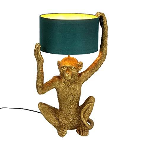 Tischleuchte XXL 57cm Stehleuchte Tischlampe mit Stoffschirm - Lampe leuchte Affe Monkey Figur Skulptur dekoobjekt