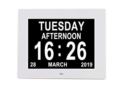 Renquen Wecker ohne Abkürzung Tag Monat Speicher Digital elektronische Uhr Verlust Demenz Alzheimer Sehbehinderte Uhr für ältere Menschen (weiß)