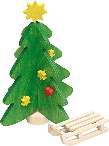 Rülke Holzspielzeug 21636 Puppenhauszubehör, grün, gelb, rot, holzfarben