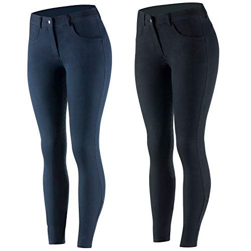 netproshop Damen Reithose im Jeans-Style mit Hohem Bund und Silikon-Vollbesatz Gr. 34-46, Damengroesse:38, Farbe:Dunkelblau