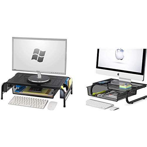 SimpleHouseware Metal Monitor Stand Riser with Drawer + Mesh Monitor Riser with Drawer