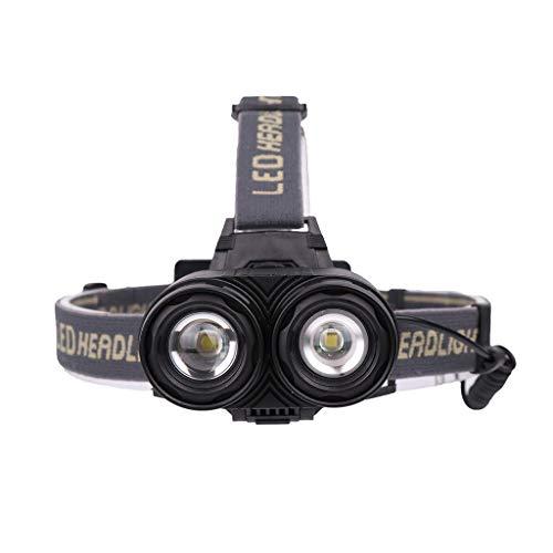 Dicomi 2 XML T6 LED Outdoor Sports Flashlight Head Light (inkl. 2x1200 mAh Batterien) Taschenlampe 6000 lumens für Haushalt,Fischenlicht,Wandern,Camping Schwarz