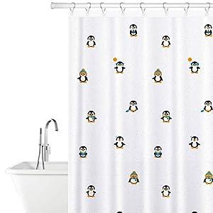 Tatkraft Funny Penguins Cortina de Baño de Poliéster, 180X180cm con 12 Anillos, 100% Impermeable, Resistente al Moho