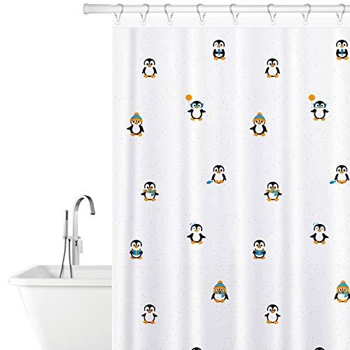 Tatkraft Lustige Pinguine Polyesterfaser Duschvorhang Schimmelfrei Wasserdicht 180X180cm, 12 Duschvorhangringe inklusive, Einzigartiges helles Design