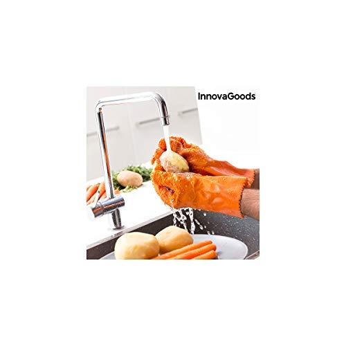 InnovaGoods Guantes Limpiadores Peladores de Verduras y Frutas, PVC, Naranja, 27x17x1 cm